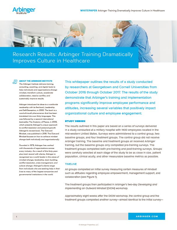 Arbinger Training Dramatically Improves Culture in Healthcare